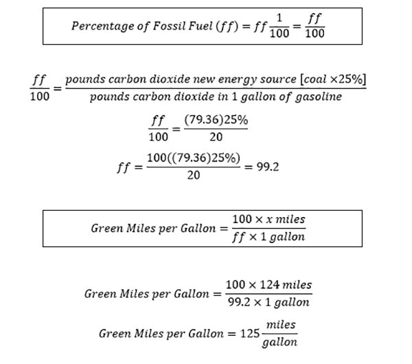 Carbon efficiency equations for a 124 MPGe electric car charged with 25 percent coal power