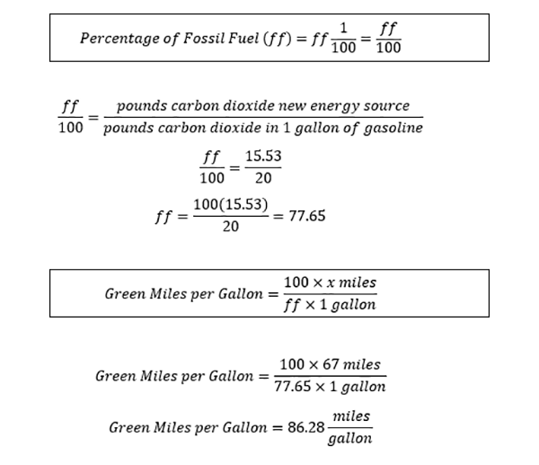 Carbon efficiency equations for a 67 MPGe fuel cell vehicle with hydrogen from natural gas